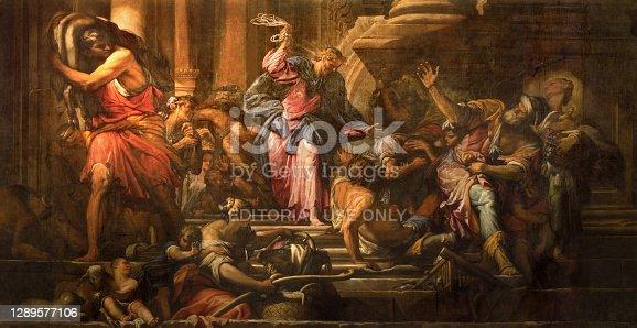Venice - Paint of Jesus Cleanses the Temple (Cacciata dei profanatori dal tempio) scene (1678) in church Chiesa di San Pantalon by Giovanni Antonio Fumiani.