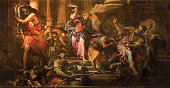 istock Venice - Paint of Jesus Cleanses the Temple (Cacciata dei profanatori dal tempio) scene (1678) in church Chiesa di San Pantalon by Giovanni Antonio Fumiani. 1289577106