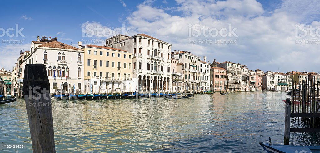 Venice panorama gondolas and palaces on the Grand Canal Italy royalty-free stock photo
