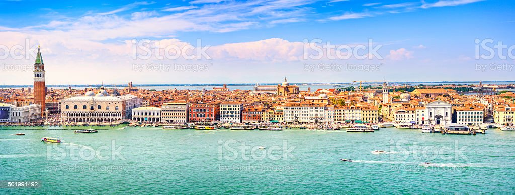 Venice panoramic aerial view, Piazza San Marco with Campanile an stock photo