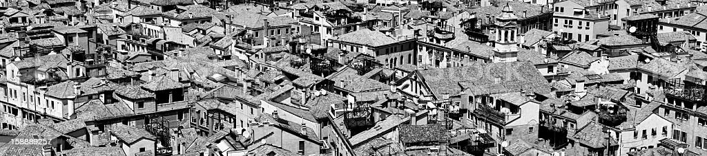 Venice. Panoramic view. Black and White royalty-free stock photo
