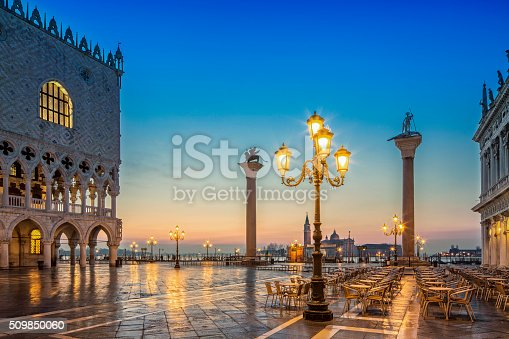 St. Mark's square in Venice during sunrise