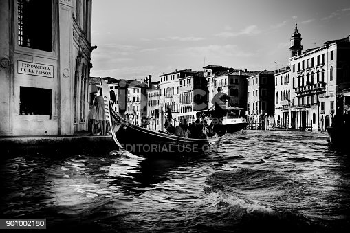 Venice, Italy - july, 14 2017: View of Venice from  water. Image taken from the top of a boat. Here in The Grand Canal.