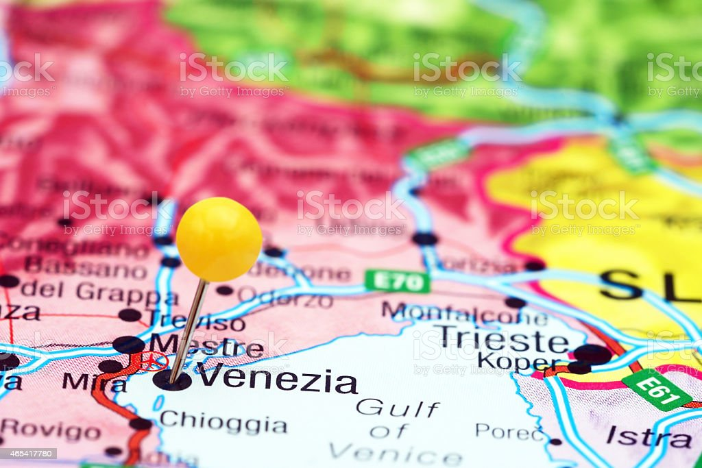 Venice Pinned On A Map Of Europe stock photo 465417780 iStock