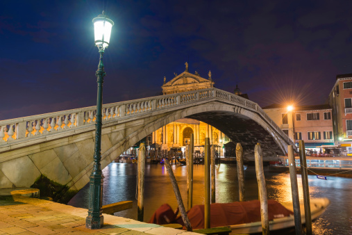 Venice Ponte degli Scalzi Ferrovia bridge over Grand Canal illuminated