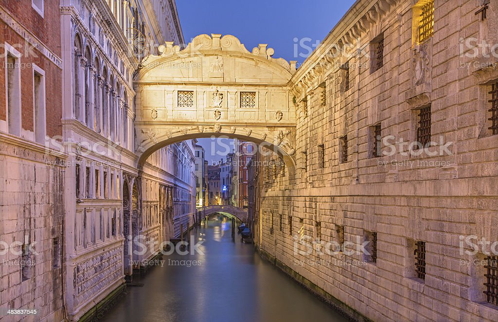 Venice - Ponte dei Sospiri in morning dusk stock photo