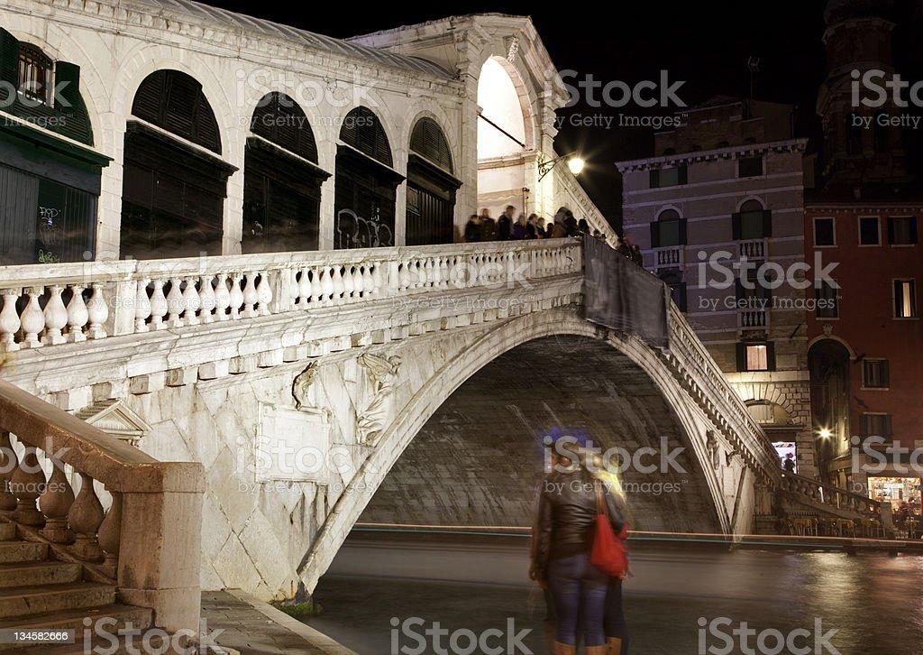Venice - Ponte Rialto at night royalty-free stock photo
