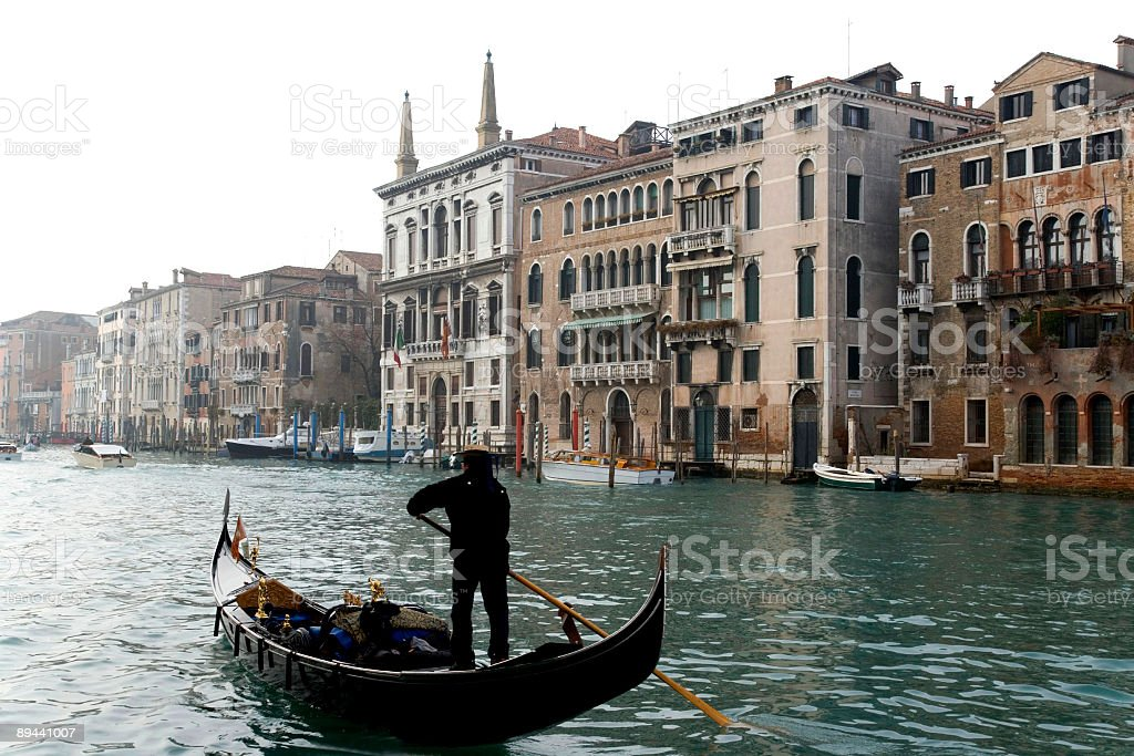 Venice scenery with Gondola on Grand Canal stock photo