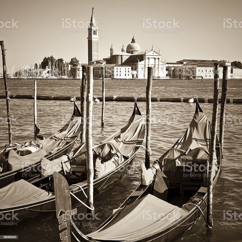 Venice Sepia Toned With Gondolas royalty-free stock photo