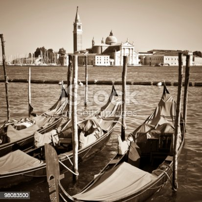 Venice Sepia Toned With Gondolas Stock Photo & More Pictures of Canal