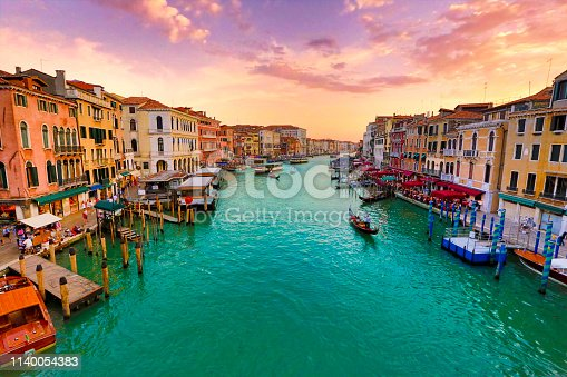 Colorful sky during sunset on romantic eve in Venice, Italy