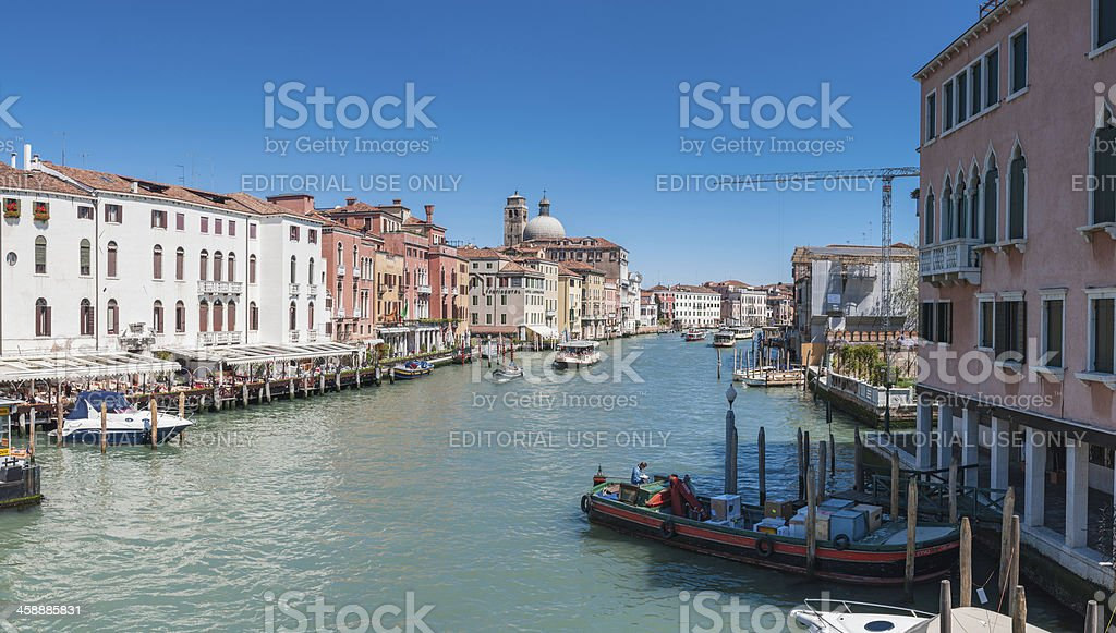 Venice tourists and locals on busy Gand Canal Ferrovia Italy stock photo