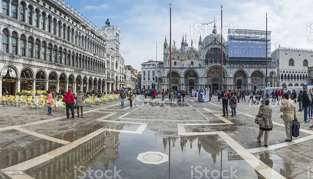 Venice tourists in St Mark's Square outside Basilica Italy royalty-free stock photo