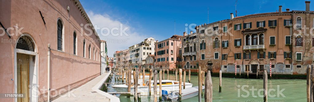 Venice tranquil canal colorful villas townhouses palazzo panorama Italy royalty-free stock photo