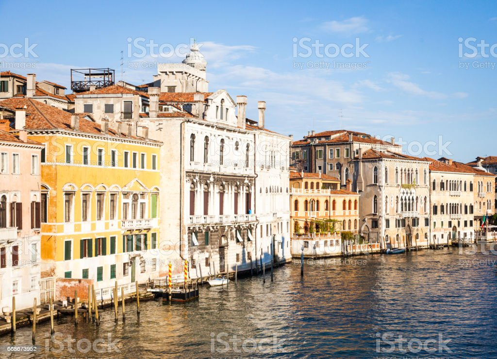 Venice view at sunrise stock photo