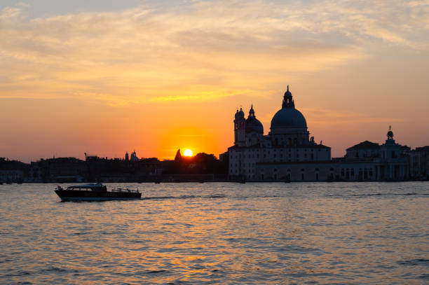 Venice, view of the lagoon at sunset stock photo