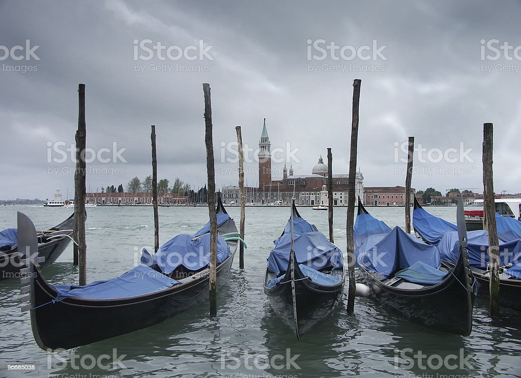 Venice view with gondolas royalty-free stock photo