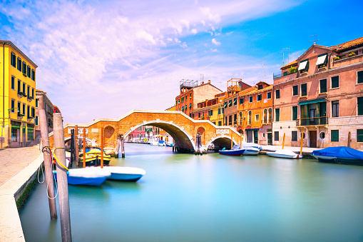 Venice, water canal and bridge in Cannaregio. Italy.