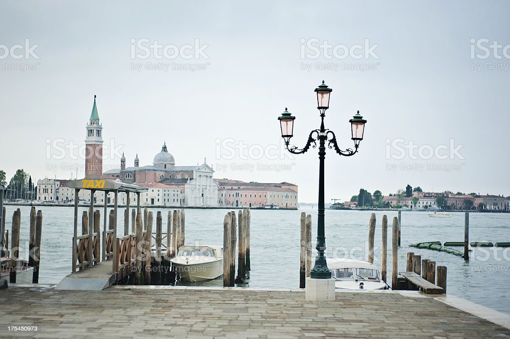Venice water taxi and lagoon royalty-free stock photo