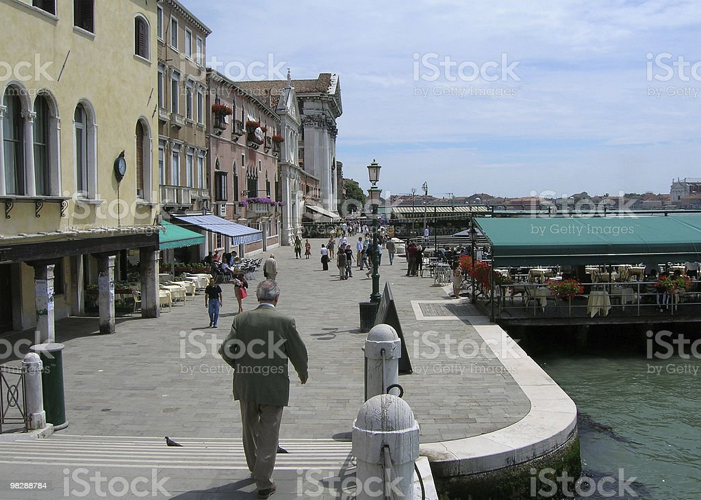 Venice. Waterfront at Zattere Ponte Lungo. Italy royalty-free stock photo