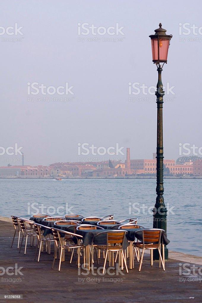 Venice Waterfront Cafe at Sunrise stock photo