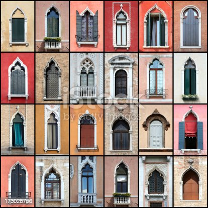 Selection of typical antique windows of Venice (Italy).