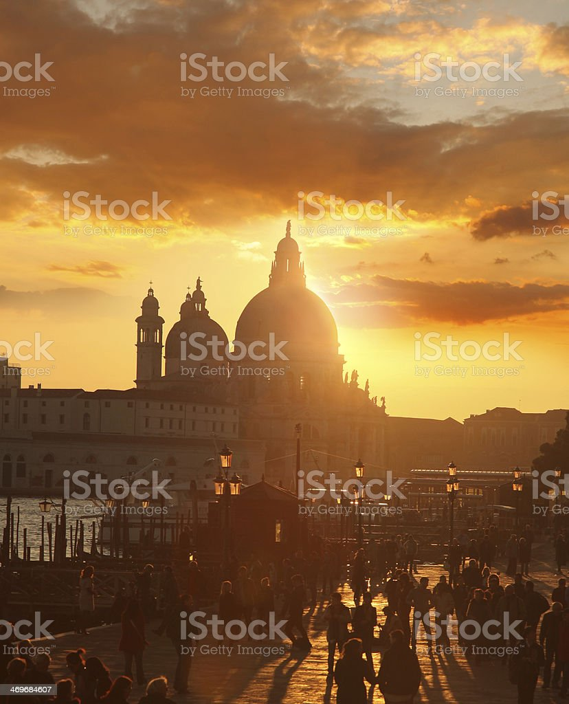 Venice with busy Grand Canal in the evening,  Italy royalty-free stock photo