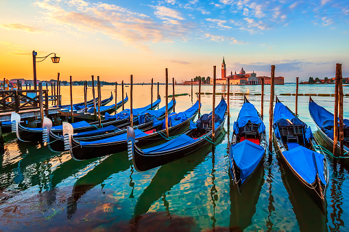 Venice with famous gondolas at sunrise