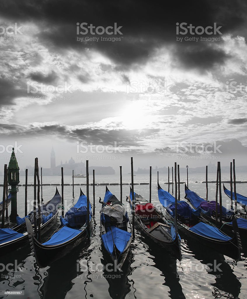 Venice with gondolas on Grand canal in Italy royalty-free stock photo