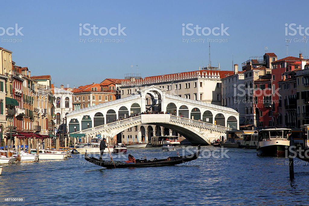 Venice with gondolier in Italy royalty-free stock photo