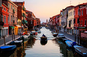 Venice,Italy.  Murano island in sunset