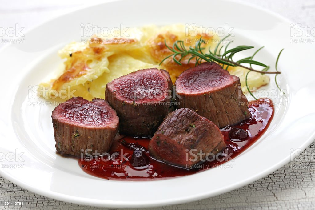 venison steak stock photo
