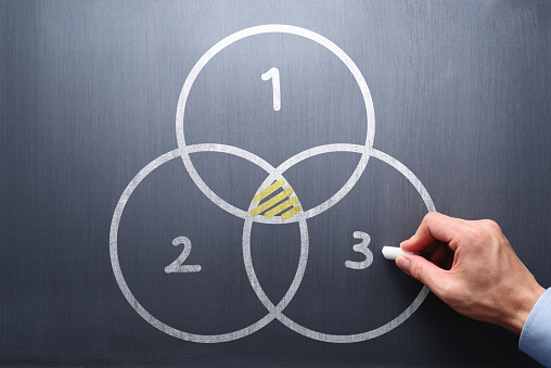 Business man drawing three circles.