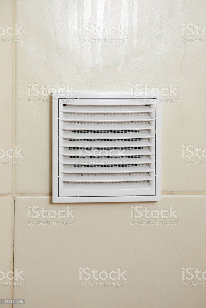 Vent white bathroom ventilation grille stock photo