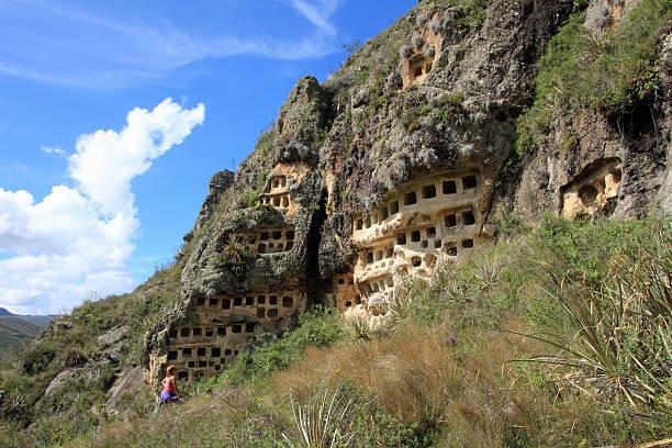 Ventanillas de Combaya, old pre inca cemetry, northern Peru stock photo