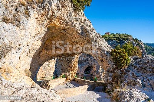 Ventano del Diablo natural Arch over Jucar river in Villaba of Cuenca Serrania in spain