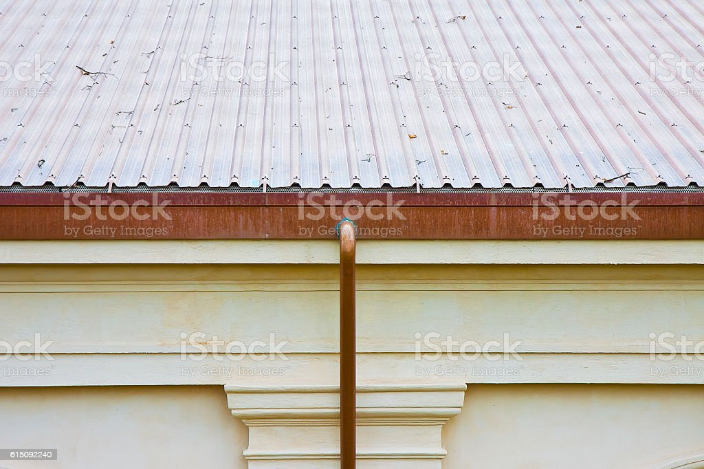 Ventilated new copper roof with chimney stock photo