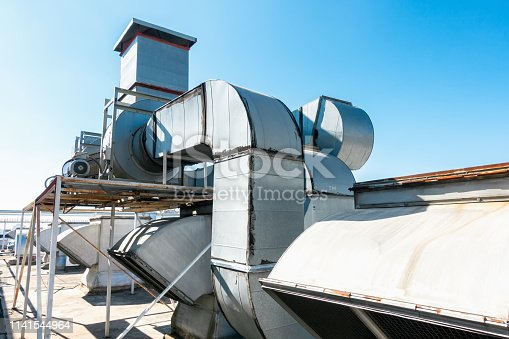 istock Ventilation Air Duct and HVAC Cleaning System, Exhaust Hood for Air Blower in Manufacturing Food. Industrial Equipment 1141544964