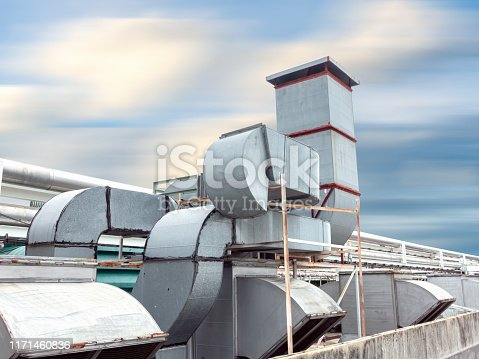istock Ventilation Air Duct and HVAC System, Exhaust Hood for Air Blower in Manufacturing Food. Air Vent Blowing and Exhausting Machine Equipment on Roofing Floor in Department Store 1171460836