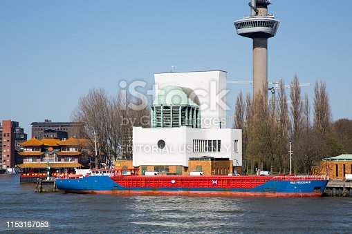 Rotterdam, The Netherlands - April 2019. Ventilation buildings for the Maas Tunnel. This tunnel is an important part of Rotterdam's road network. Situated alongside the Meuse south bank.
