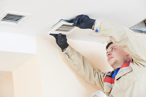 Ventilation Engineer Worker Stock Photo - Download Image Now