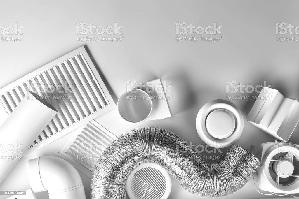 ventilation system components on white background top view ventilation system components on white background top view Air Conditioner Stock Photo
