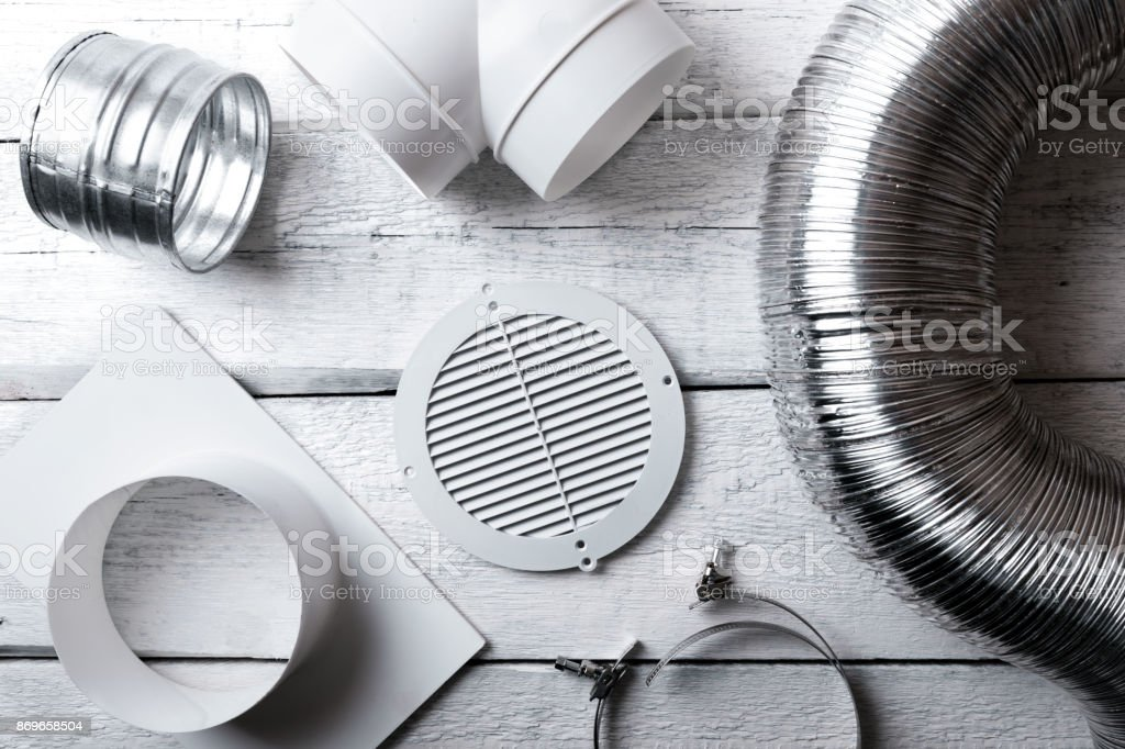 ventilation system items and joints. top view stock photo