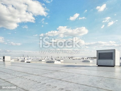 istock Ventilation systems on the building roof, technology 944364686