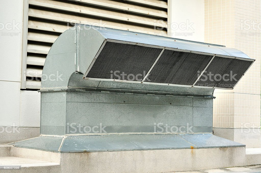 Ventilation tube of an air-conditioning system, Industrial airflow stock photo
