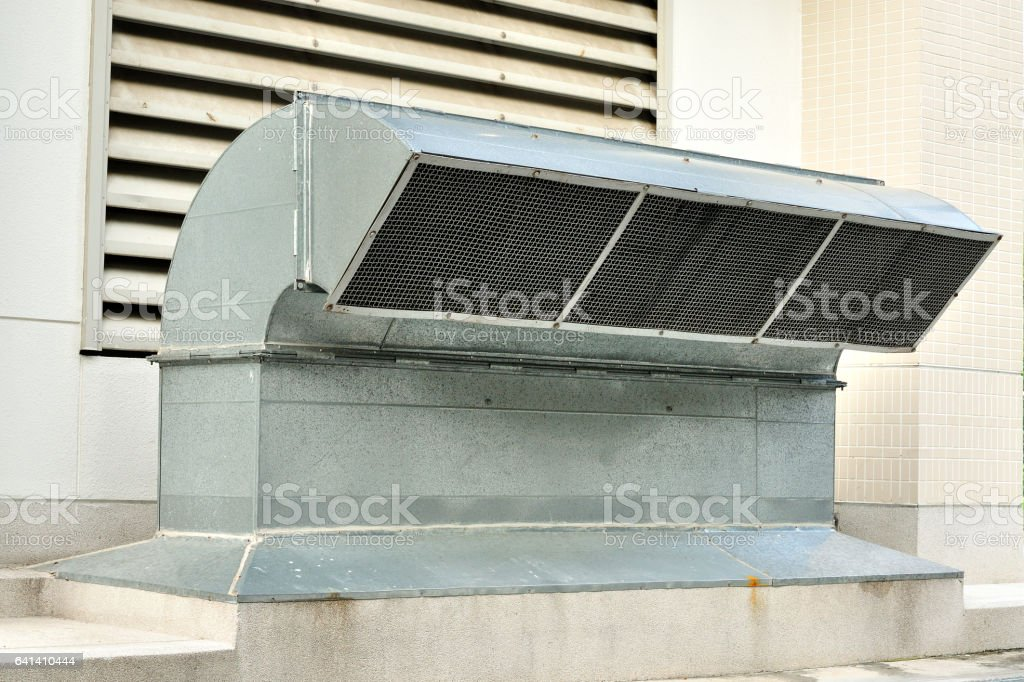 Ventilation tube of an air-conditioning system, Industrial scene stock photo