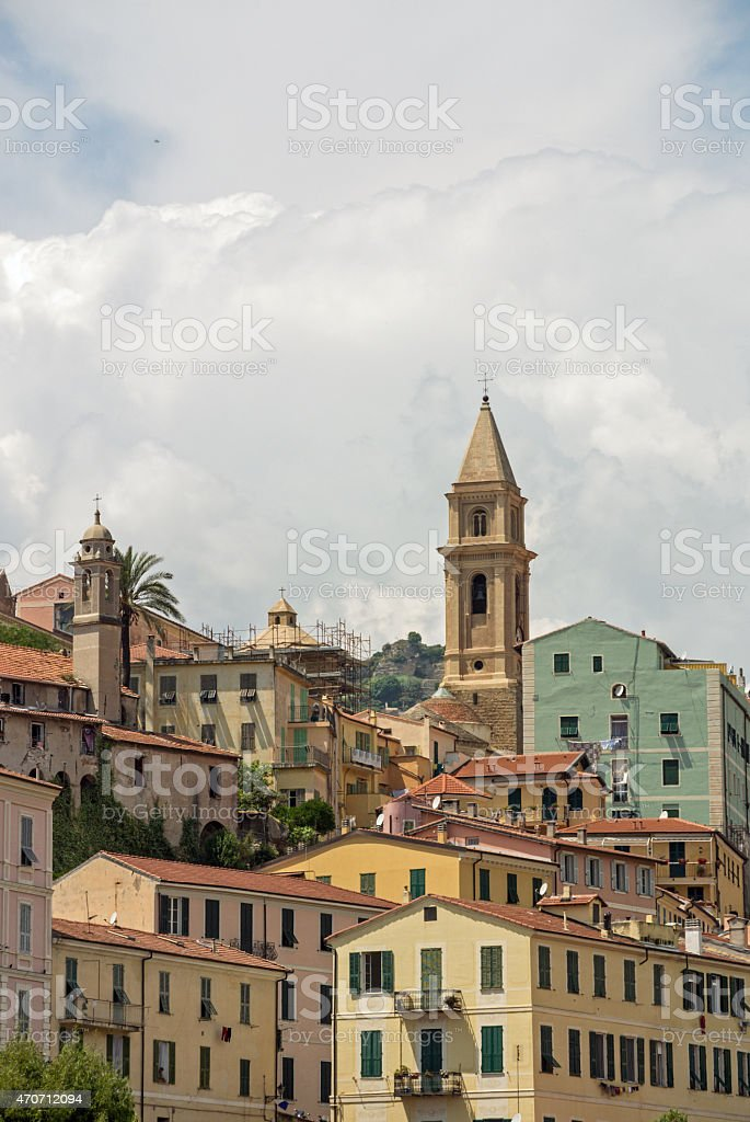 Ventimiglia (Imperia, Liguria, Italy), panoramic view of the old town stock photo
