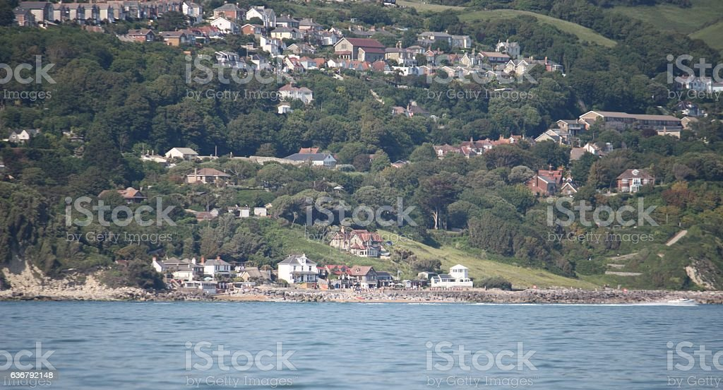 ventnor town viewed from the sea on a sunny day stock photo