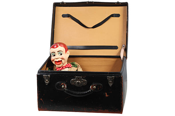 Ventriloquist's Dummy in a luggage 1950's vintage Ventriloquist's Dummy in an old luggage. ventriloquist's dummy stock pictures, royalty-free photos & images
