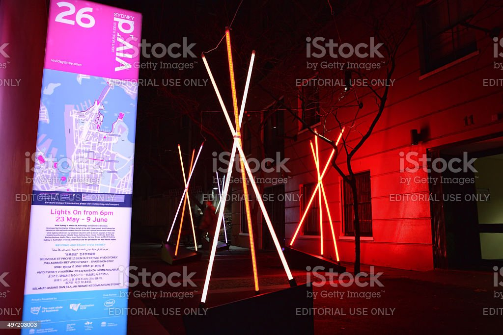 Venture, teepee structures at Vivid Sydney royalty-free stock photo